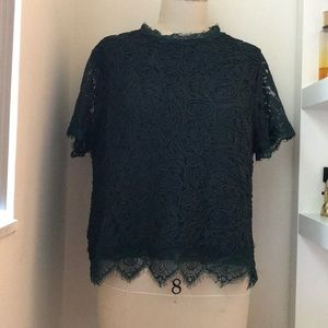Lace Forest Green XL Blouse